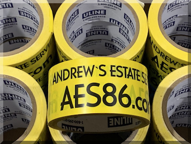 Andrews Estate Service AES86 Packaging Tape Yellow